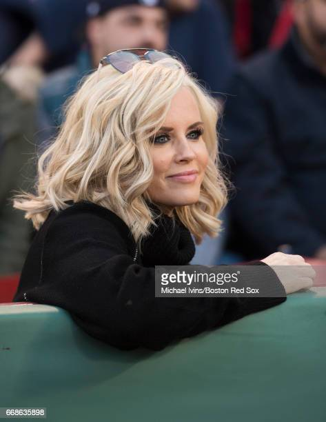 Actress Jenny McCarthy Wahlberg watches the ceremony before a game between the Boston Red Sox and the Tampa Bay Rays at Fenway Park on April 14 2017...