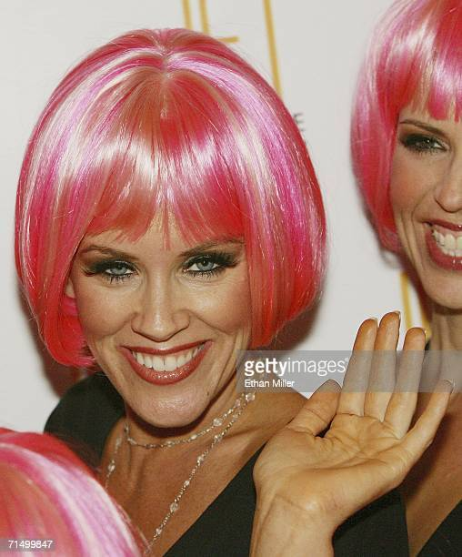 Actress Jenny McCarthy waves as she arrives at the Jet Nightclub at The Mirage Hotel Casino for her sister Amy McCarthy's birthday party July 21 2006...