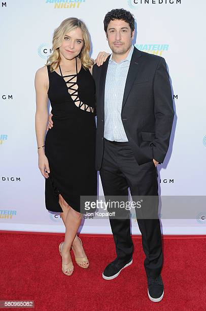 Actress Jenny Mollen and actor Jason Biggs arrive at the Los Angeles Premiere of 'Amateur Night' at ArcLight Hollywood on July 25 2016 in Hollywood...