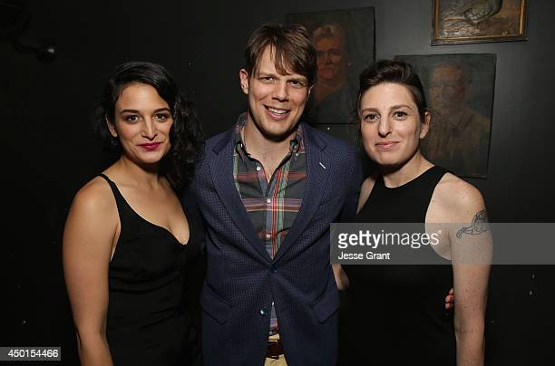 Actress Jenny Slate actor Jake Lacy and director Gillian Robespierre attend the Screening of A24's Obvious Child after party at Wood Vine on June 5...
