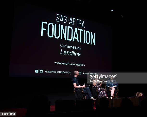 Actress Jenny Slate and Abby Quinn speak during SAGAFTRA Foundation Conversations 'Landline' at SAGAFTRA Foundation Robin Williams Center on July 20...
