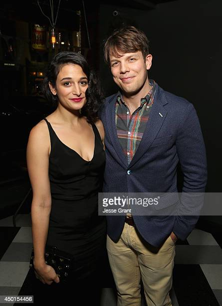 """Actress Jenny Slate and actor Jake Lacy attend the Screening of A24's """"Obvious Child"""" after party at Wood & Vine on June 5, 2014 in Hollywood,..."""