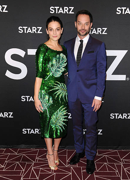 actress jenny slate and actor nick kroll attend a screening of my blind brother