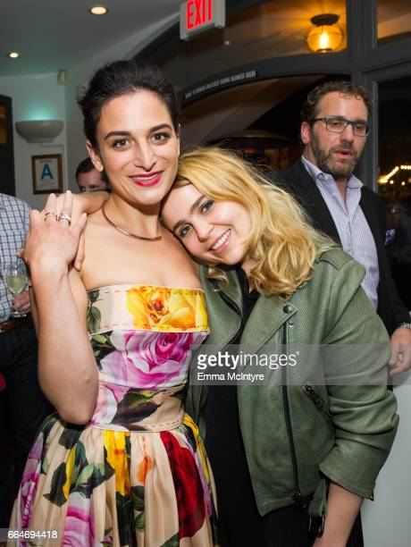 Actress Jenny Slate and actress Mae Whitman attend the after party for the premiere of Fox Searchlight Pictures' 'Gifted' at Pacific Theaters at the...