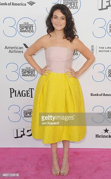 Actress Jenny Slate arrives at the 2015 Film Independent Spirit Awards on February 21 2015 in Santa Monica California