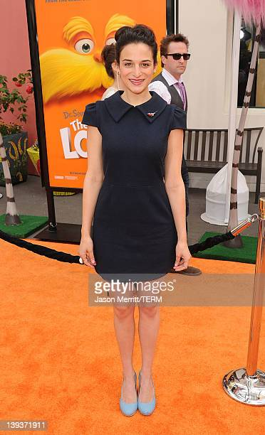 Actress Jenny Slate arrives at the 'Dr Suess' The Lorax' Los Angeles premiere at Universal Studios Hollywood on February 19 2012 in Universal City...