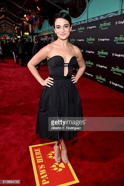 Actress Jenny Slate attends the Los Angeles premiere of Walt Disney Animation Studios' 'Zootopia' on February 17 2016 in Hollywood California