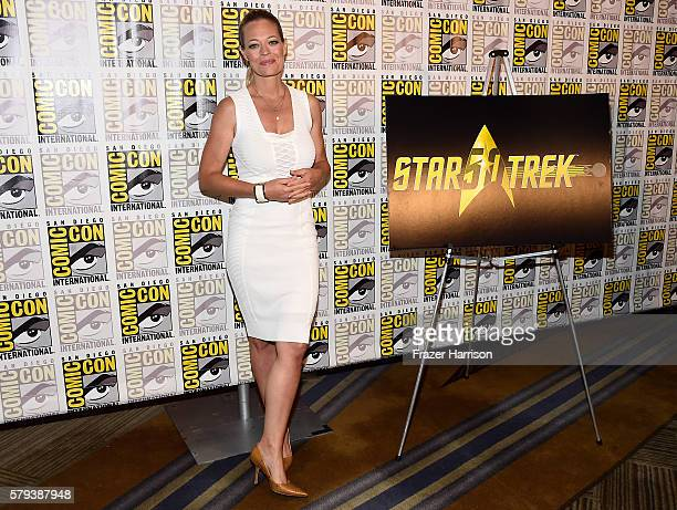 Actress Jeri Ryan attends the 'Star Trek 50' press line during ComicCon International on July 23 2016 in San Diego California