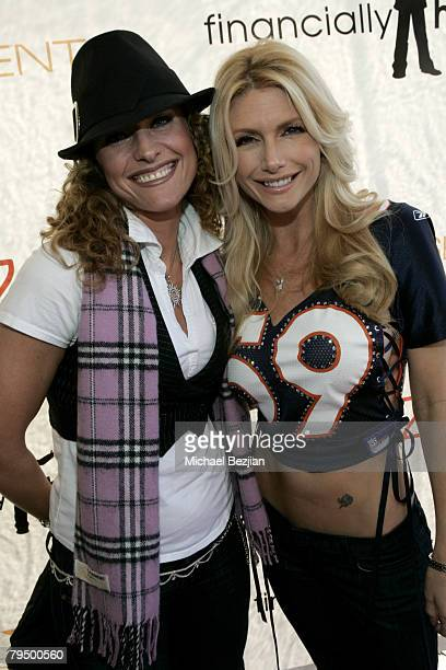 Actress Jerri Manthey and playmate Brande Roderick arrive at the Playboy Mansion Super Bowl Party on February 3 2008 in Los Angeles Arizona