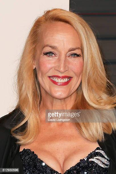 Actress Jerry Hall arrives at the 2016 Vanity Fair Oscar Party Hosted by Graydon Carter at the Wallis Annenberg Center for the Performing Arts on...