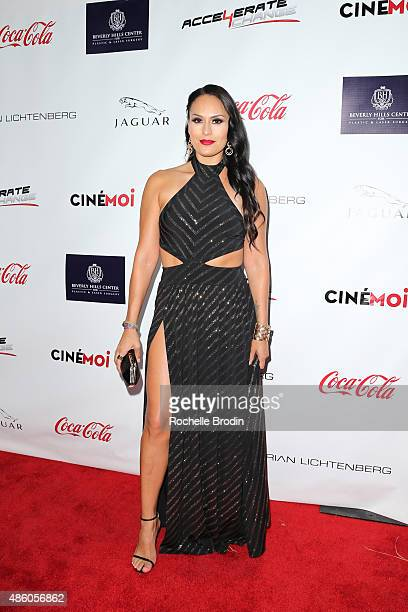 Actress Jes Meza arrives at the Accelerate4Change charity event presented by Dr Ben Talei Cinemoi on August 29 2015 in Beverly Hills California