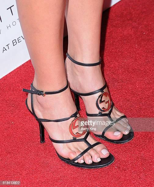 Actress Jes Meza shoe detail attends Sofitel Los Angeles At Beverly Hills 2016 Award Season Wrap Party at Sofitel Los Angeles on March 2 2016 in Los...