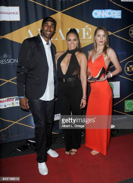 Actress Jes Meza with sponsors at the Amare Magazine's Winter Soiree 3rd Issue Launch held at EnVy Lounge on February 19 2017 in Newport Beach...