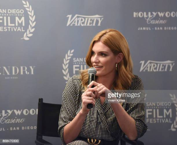 Actress Jess Jacobs speaks on the Unstoppable Women Panel at the San Diego International Film Festival 2017 on October 6 2017 in San Diego California