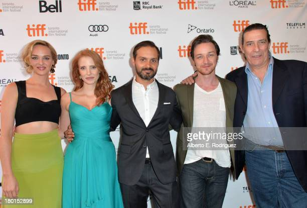 Actress Jess Weixler actress/ producer Jessica Chastain Filmmaker Ned Benson actors James McAvoy and Ciaran Hinds arrive at the The Disappearance Of...