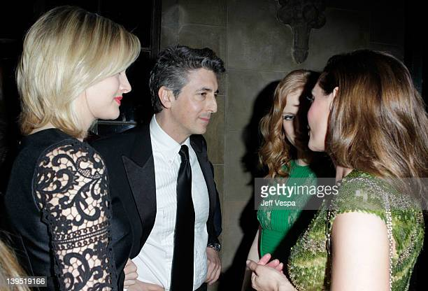 Actress Jess Weixler director Alexander Payne actress Jessica Chastain and actress Rose McGowan attend a tribute to Sir Charles Chaplin by Carmen and...