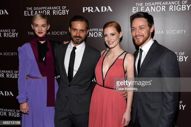 Actress Jess Weixler director Ned Benson actress Jessica Chastain and actor James McAvoy attend the screening of The Weinstein Company's 'The...