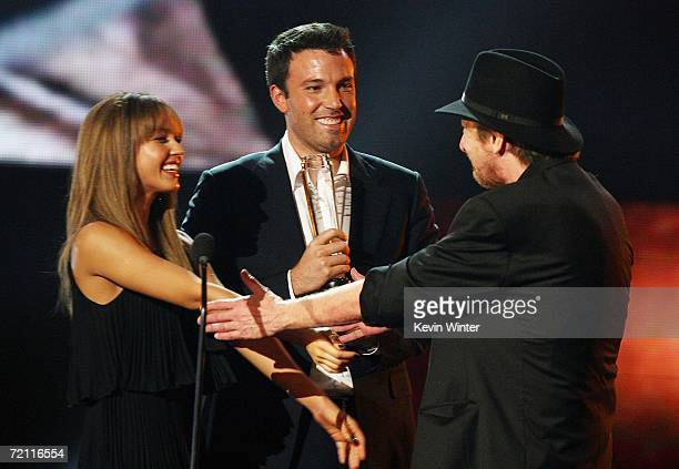 Actress Jessica Alba Actor Ben Affleck and Frank Miller onstage during Spike TV's Scream Awards 2006 at the Pantages Theatre on October 7 2006 in Los...