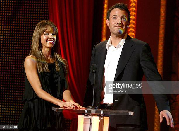 Actress Jessica Alba and Actor Ben Affleck present the ComicCon Icon Award to Frank Miller onstage during Spike TV's Scream Awards 2006 at the...