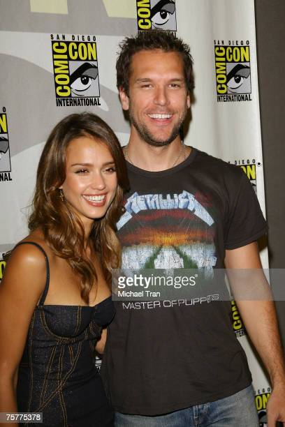 Actress Jessica Alba and Actor Dane Cook arrives to the Lionsgate press panel at Comic-Con at the San Diego Convention Center on July 26, 2007 in San...