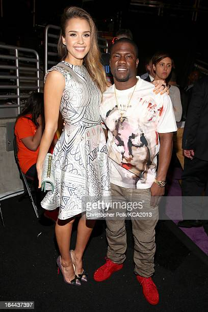 Actress Jessica Alba and actor Kevin Hart seen backstage at Nickelodeon's 26th Annual Kids' Choice Awards at USC Galen Center on March 23 2013 in Los...
