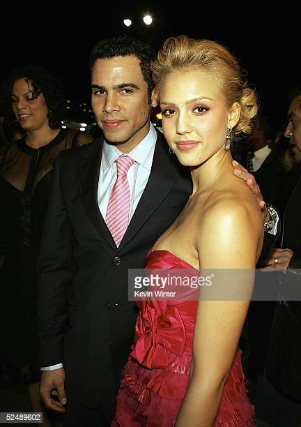 Actress Jessica Alba and boyfriend Cash Warren arrive at the premiere of 'Sin City' at Mann National Theater on March 28 2005 in Los Angeles...