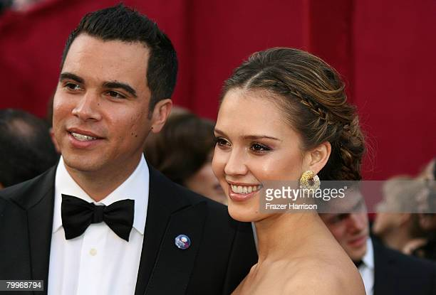 Actress Jessica Alba and Cash Warren arrive at the 80th Annual Academy Awards held at the Kodak Theatre on February 24 2008 in Hollywood California