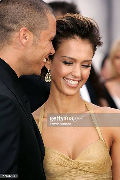 Actress Jessica Alba and Cash Warren arrive to the 78th Annual Academy Awards at the Kodak Theatre on March 5 2006 in Hollywood California