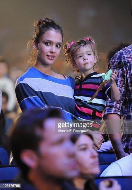 Actress Jessica Alba and daughter Honor Warren attend Yo Gabba Gabba Live There's A Party In My City at Nokia LA Live on November 27 2010 in Los...