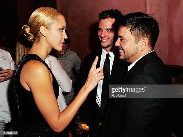 Actress Jessica Alba and designer Narciso Rodriguez attend the Narciso Rodriguez Spring 2010 fashion show after party at The Rose Bar at Gramercy...