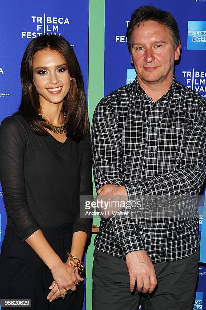 Actress Jessica Alba and director Brian Hill attend the premiere of Climate Of Change during the 2010 Tribeca Film Festival at the School of Visual...