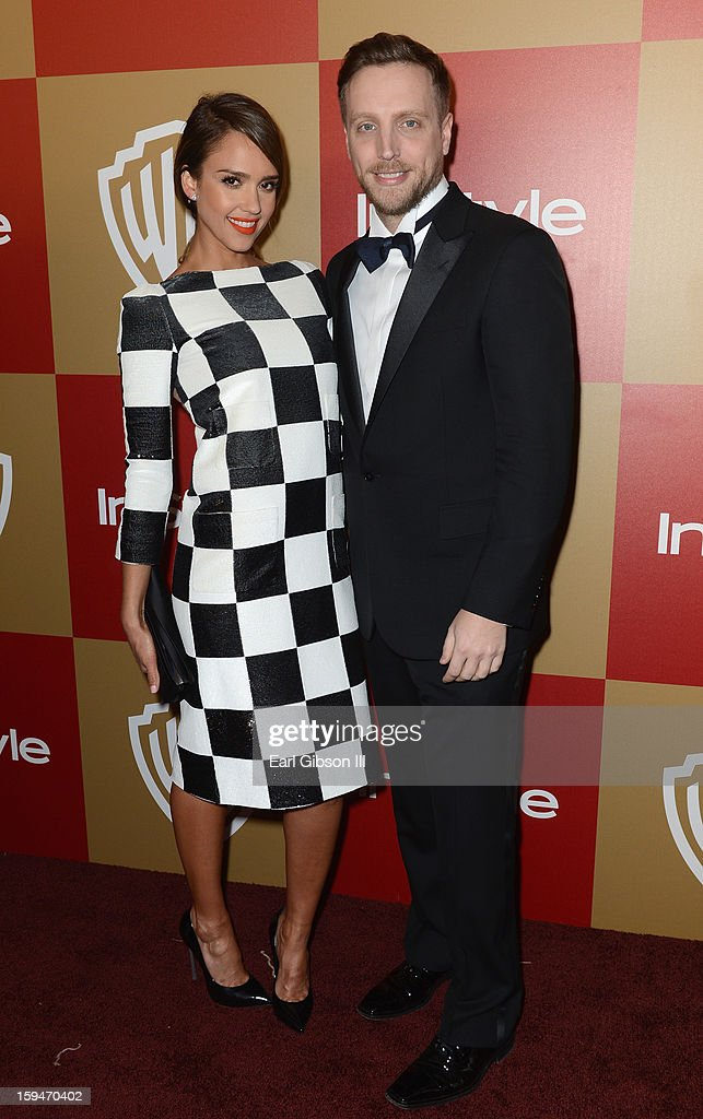 Actress Jessica Alba and Editor of InStyle Ariel Foxman attend the 2013 InStyle and Warner Bros. 70th Annual Golden Globe Awards Post-Party held at the Oasis Courtyard in The Beverly Hilton Hotel on January 13, 2013 in Beverly Hills, California.
