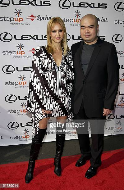 Actress Jessica Alba and fashion designer Andrew Gn arrive at StepUp Women's Network's Fourth Annual Fashion Forward Luncheon on November 13 2004 at...
