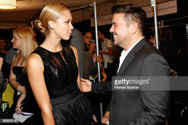Actress Jessica Alba and Narciso Rodriguez backstage at the Narciso Rodriguez Spring 2010 fashion show during MercedesBenz Fashion Week at Bryant...