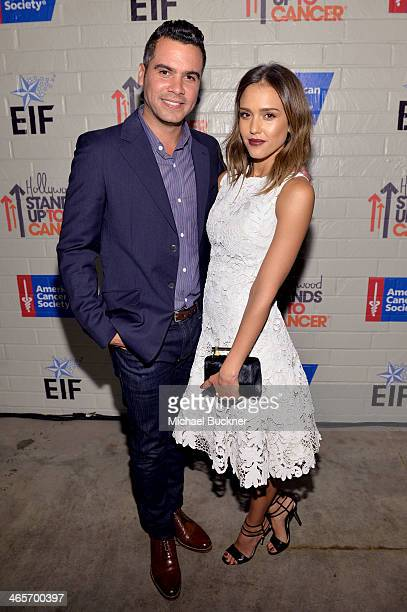 Actress Jessica Alba and producer Cash Warren attend Hollywood Stands Up To Cancer Event with contributors American Cancer Society and Bristol Myers...