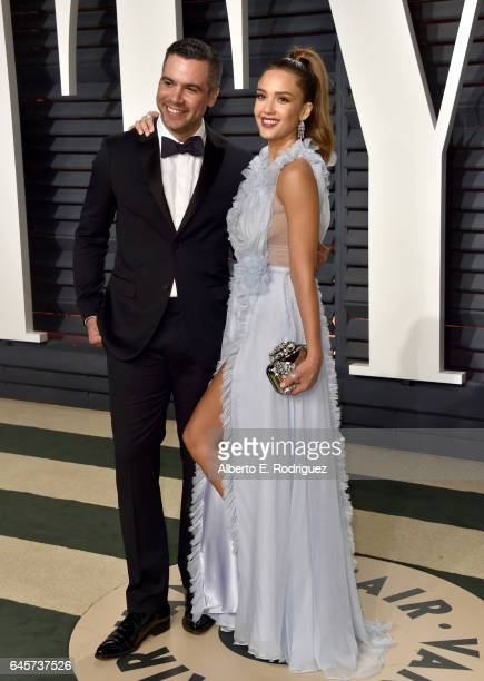 Actress Jessica Alba and producer Cash Warren attend the 2017 Vanity Fair Oscar Party hosted by Graydon Carter at Wallis Annenberg Center for the...