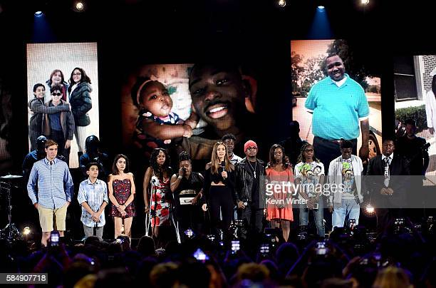 Actress Jessica Alba and recording artist NeYo speak out against gun violence with victims and victims' families of gun violence attacks onstage...