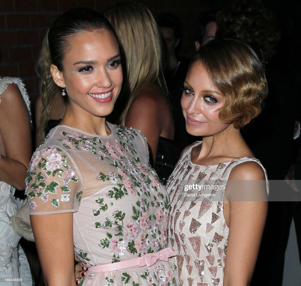 Actress Jessica Alba (L) and TV personality Nicole Richie attend the 1st Annual Baby2Baby Gala at The BookBindery on November 3, 2012 in Culver City, California.