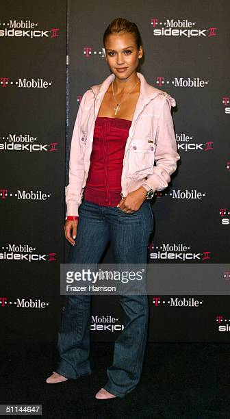 Actress Jessica Alba arrive at the TMobile Sidekick II Launch Party held at the Grove on August 4 2004 in Hollywood California