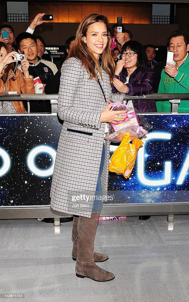 Actress Jessica Alba arrives at Narita International Airport on April 14, 2012 in Narita, Japan.