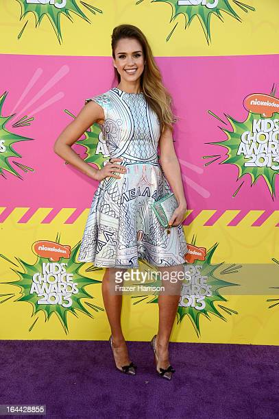 Actress Jessica Alba arrives at Nickelodeon's 26th Annual Kids' Choice Awards at USC Galen Center on March 23 2013 in Los Angeles California