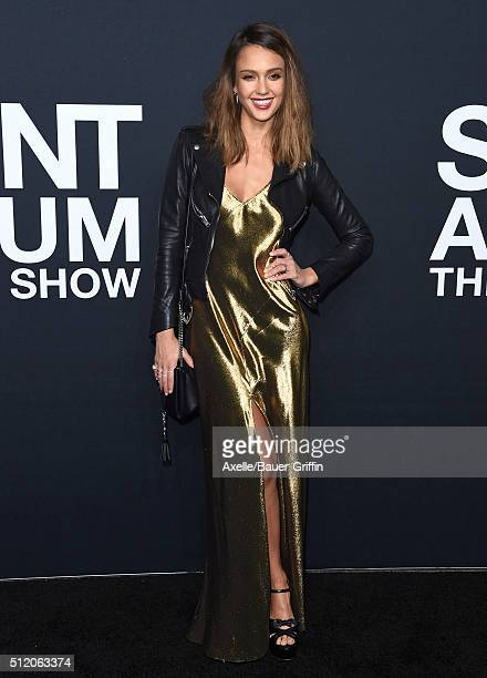 Actress Jessica Alba arrives at SAINT LAURENT At The Palladium at Hollywood Palladium on February 10 2016 in Los Angeles California