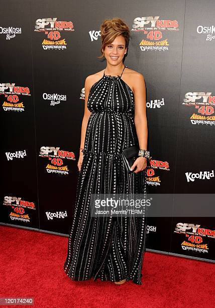 """Actress Jessica Alba arrives at """"Spy Kids: All The Time In The World 4D"""" Los Angeles premiere at the Regal Cinemas L.A. Live on July 31, 2011 in Los..."""