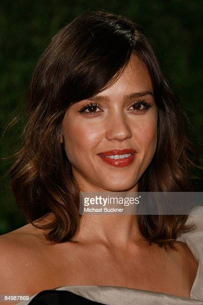 Actress Jessica Alba arrives at the 2009 Vanity Fair Oscar Party hosted by Graydon Carter held at the Sunset Tower on February 22 2009 in West...