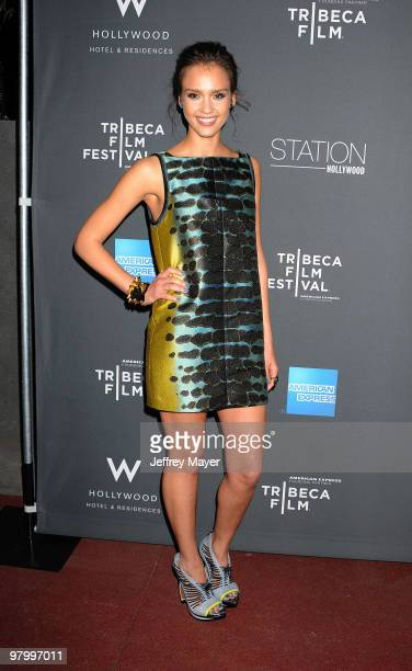 Actress Jessica Alba arrives at the 2010 Tribeca Film Festival and Tribeca Film Celebration at Station at W Hollywood on March 23, 2010 in Hollywood,...