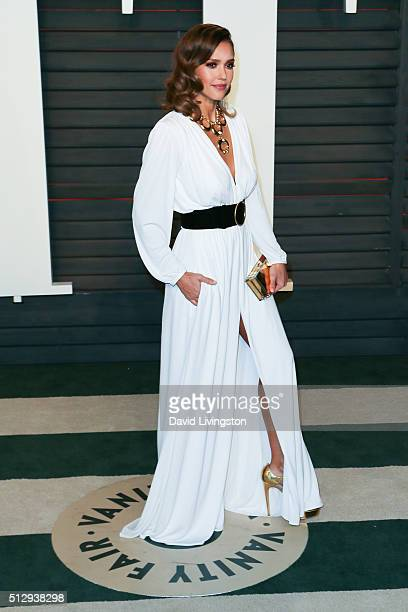 Actress Jessica Alba arrives at the 2016 Vanity Fair Oscar Party Hosted by Graydon Carter at the Wallis Annenberg Center for the Performing Arts on...
