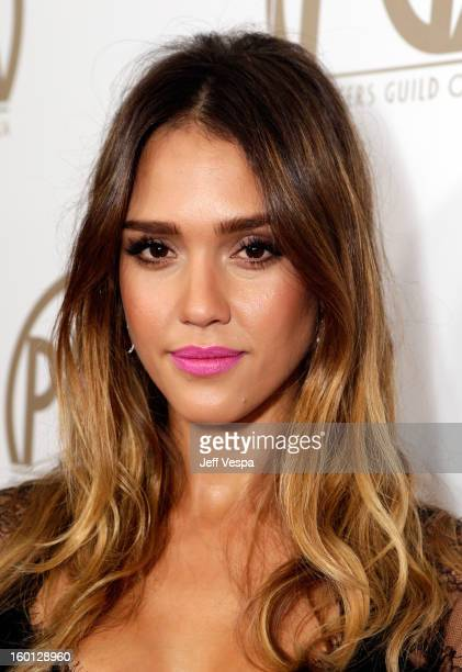 Actress Jessica Alba arrives at the 24th Annual Producers Guild Awards held at The Beverly Hilton Hotel on January 26 2013 in Beverly Hills California