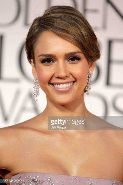 Actress Jessica Alba arrives at the 69th Annual Golden Globe Awards held at the Beverly Hilton Hotel on January 15 2012 in Beverly Hills California