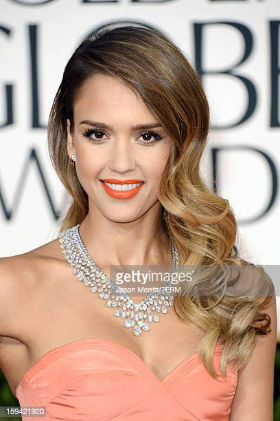 Actress Jessica Alba arrives at the 70th Annual Golden Globe Awards held at The Beverly Hilton Hotel on January 13, 2013 in Beverly Hills, California.