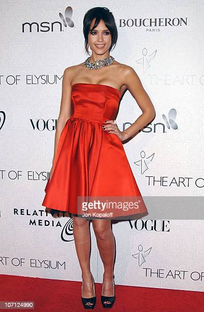 Actress Jessica Alba arrives at The Art of Elysium's 3rd Annual BlackTie Charity Gala Heaven at 9900 Wilshire Blvd on January 16 2010 in Beverly...